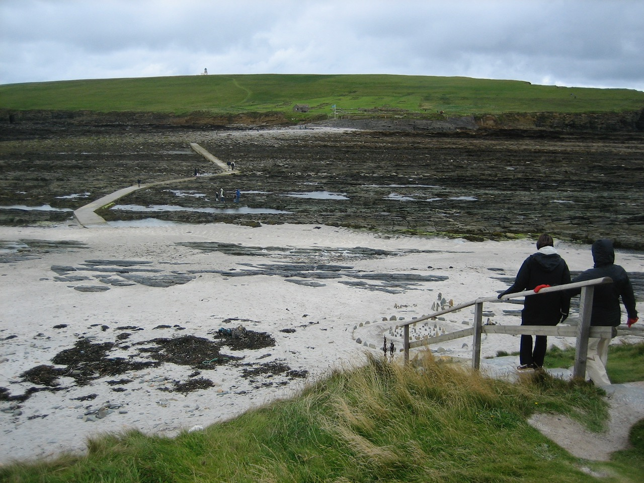 At low tide heading for the causeway to cross to the Broch of Birsay