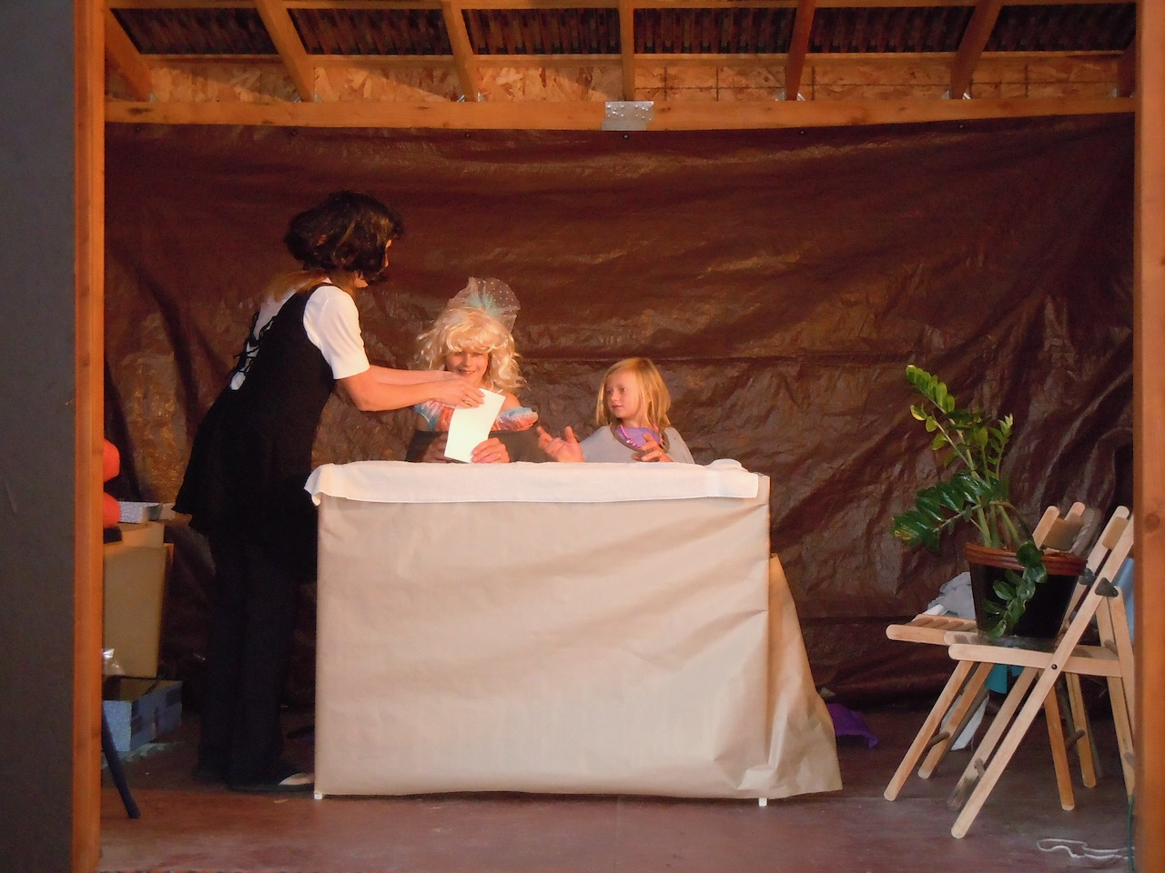 At family gathers: Dads and Daugters skit in Yvonne's shed