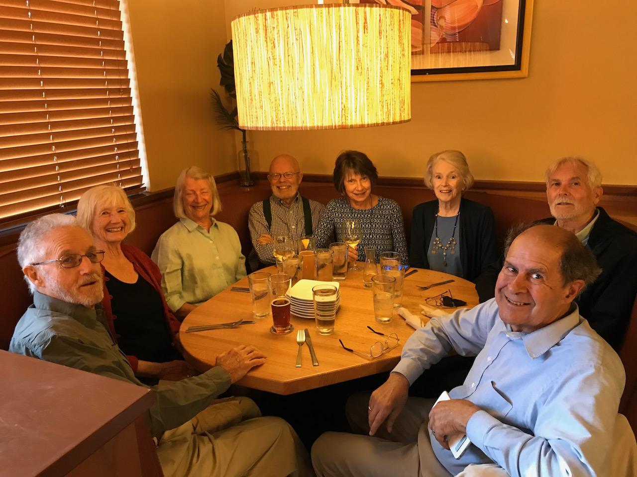 Dave, Ann, Barb, Dean, Yvonne, Tessa, John, Alan at California Pizza