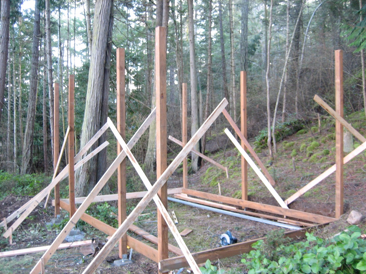 Yvonne's shed (left); seven poles held in place waiting for additonal structure