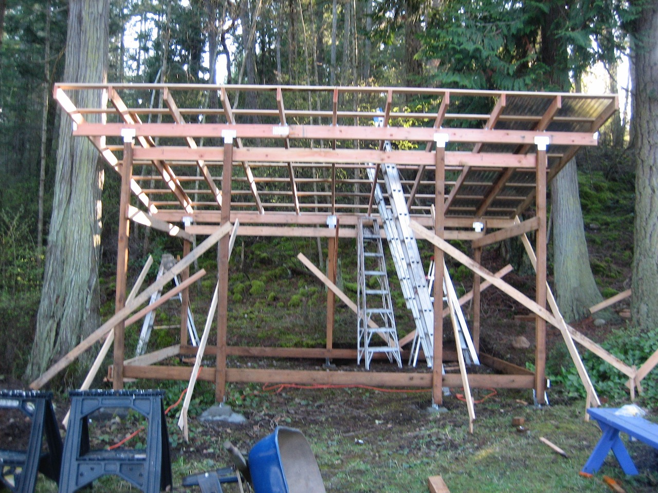Yvonne's shed ready for roofing