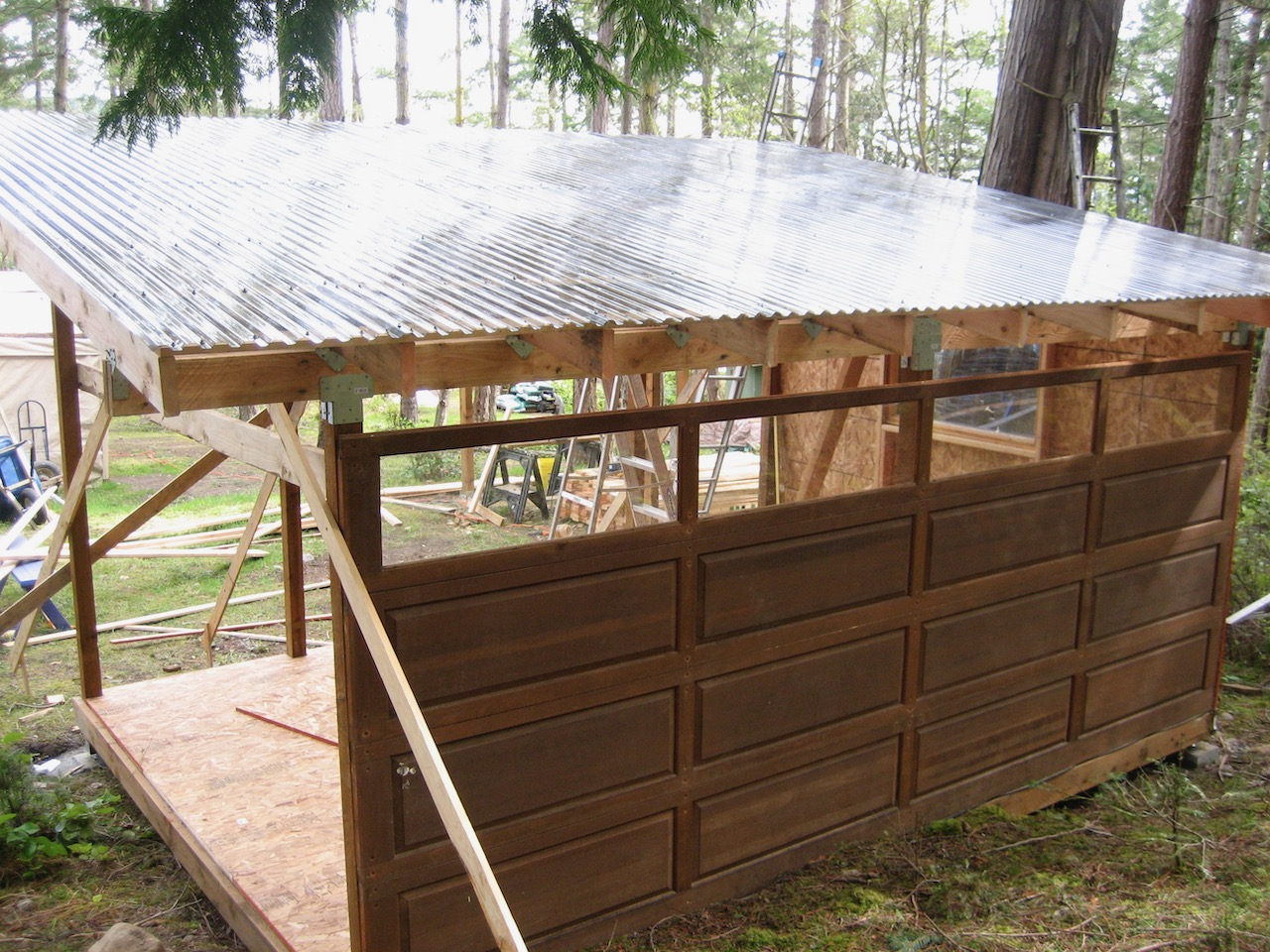Shed wall from repurposed garage door