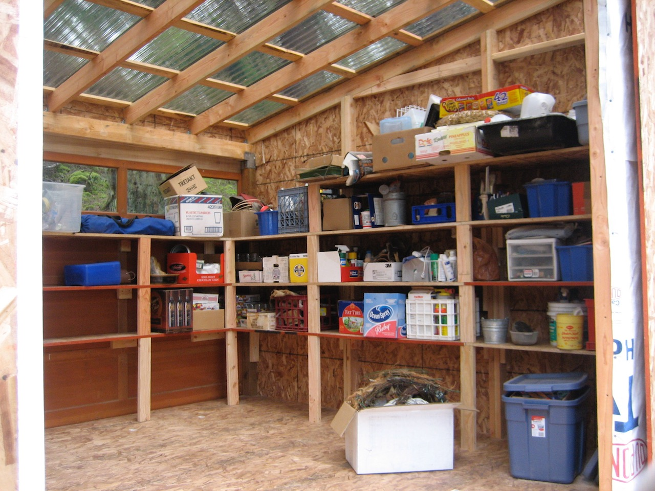 Yvonne's shed ready for use. Note how lioght floods in through polycarbonate roof