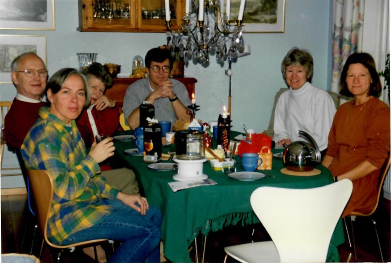 Anne left, Peter center, our sister Marcy, Julie in Sweden for Christmas